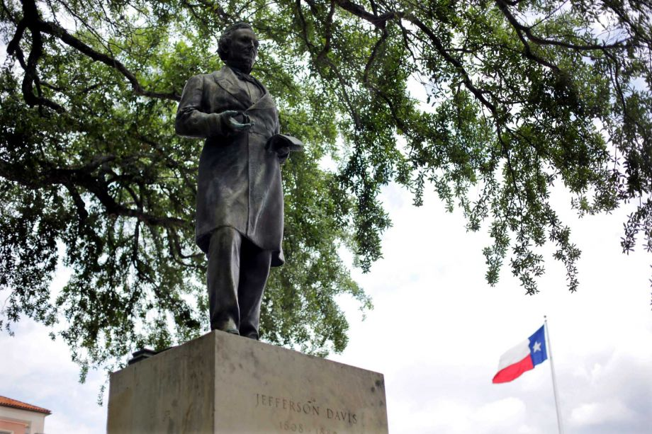 The statue of Confederate president Jefferson Davis at the University of Texas Austin.  (Credit: Eric Gay/Associated Press)
