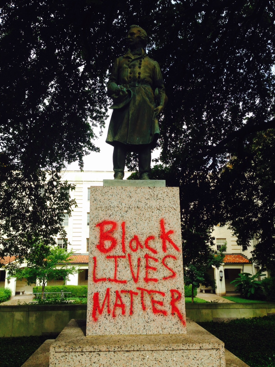 Other statues on the UT Austin campus were hit. Above is the statue of Confederate general Albert Johnston.  (Credit: KXAN)