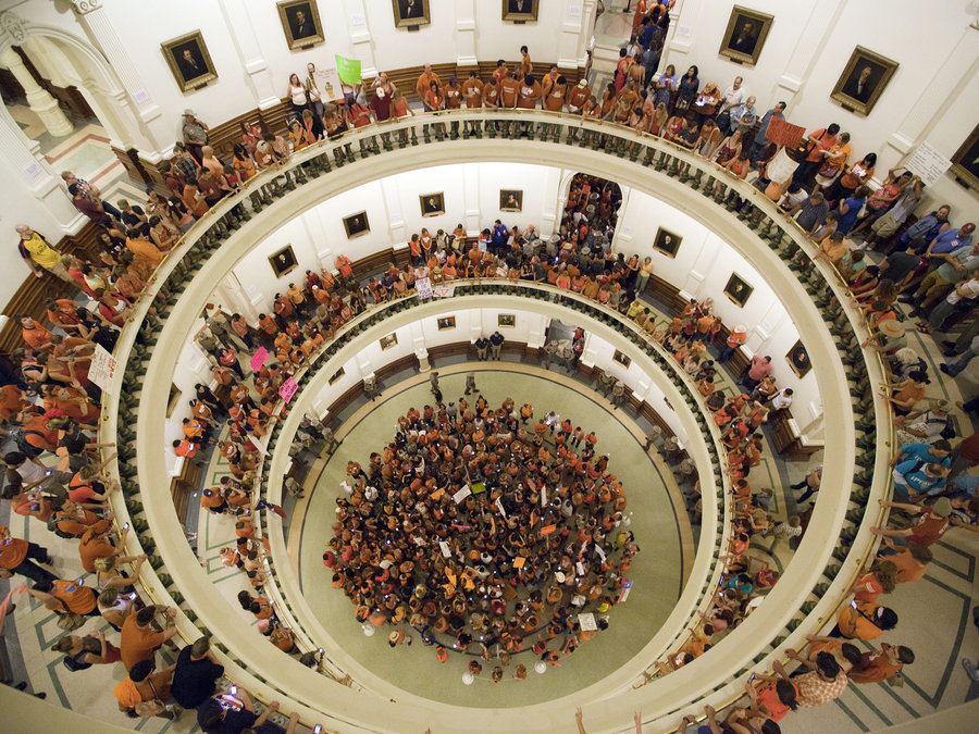 Abortion-rights supporters occupy the Texas State Capitol building in 2013.