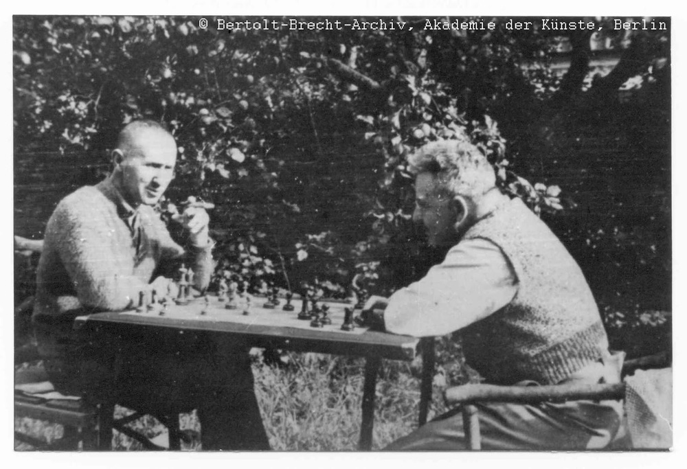 Brecht and Benjamin playing chess while exiled in Denmark, 1934