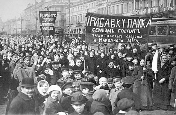 Women of the Putilov Works leading the strike that will kick off the Russian Revolution
