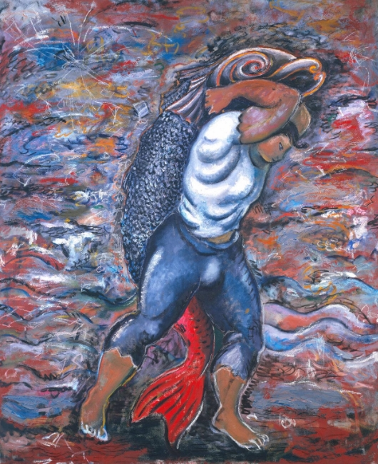 Sandro Chia Water Bearer, 1981 Oil paint and pastel on canvas 81 1/2 x 67 inches