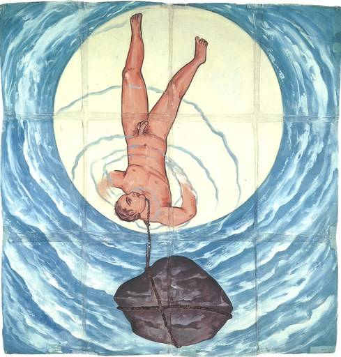 Francesco Clemente Moon, 1980 Gouache on twelve sheets of paper with fabric 96 1/4 x 91 inches