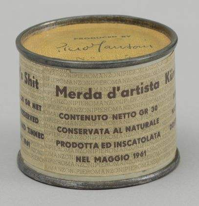 "Piero Manzoni Artist's Shit No. 014, 1961 Metal, paper, and ""artist's shit"" 1 7/8 x 2 1/2 inches in diameter"