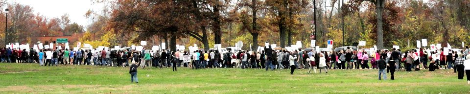 Southern Illinois University faculty strikers and supporters marching in 2011.