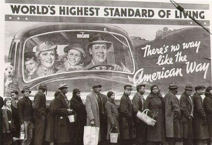 Breadline during the Great Depression.