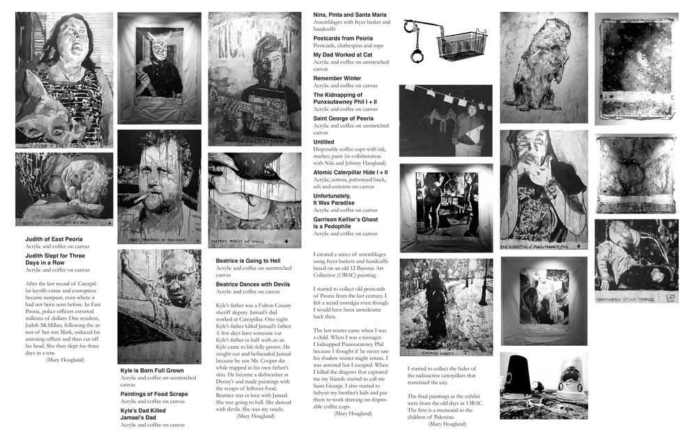 "Show 'zine center spread for ""Kick the Cat"" at Project 1612"
