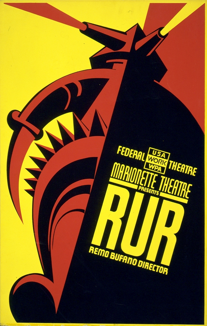 Poster for an American Federal Theatre production of R.U.R., circa 1930s