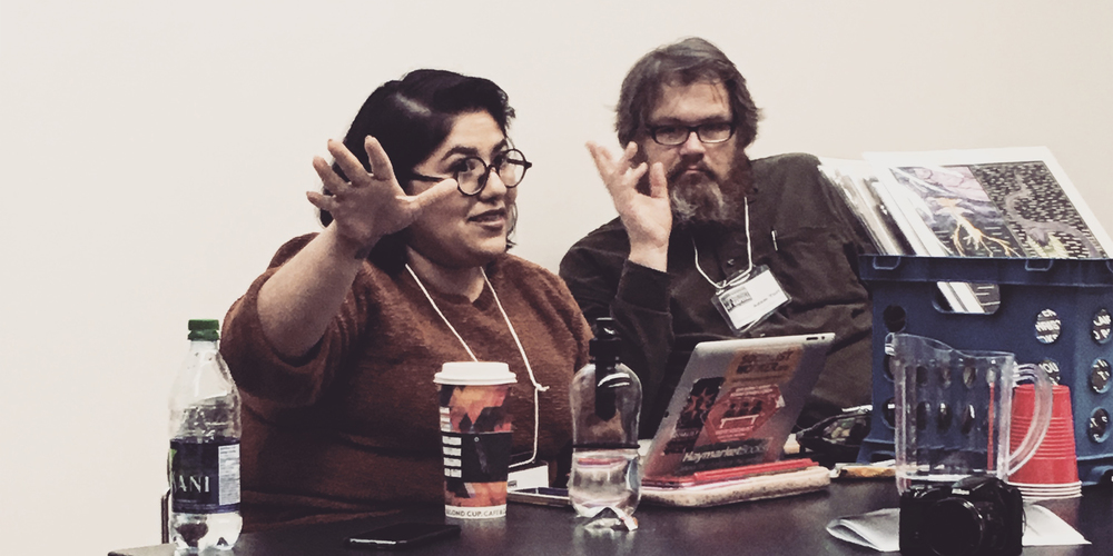 "The  Red Wedge  panel ""Art Against Global Apartheid"" at Historical Materialism Toronto 2016 (York University). Crystal Stella Becerril speaking, Adam Turl in the background."