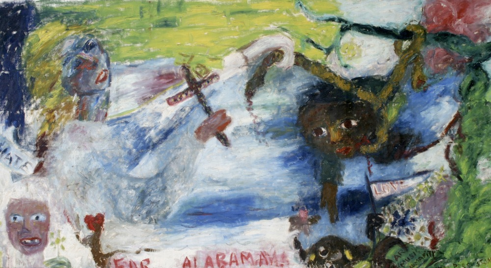 "Alabama Lynching ,  oil circa late 50s-60s  34""x 4'5"". While this painting is about lynching and the hypocrisy of those bearing crosses and saying they are Christian, it's also about love versus hate."