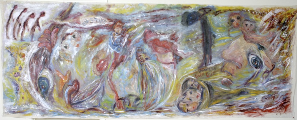 "Down Through the Ages Through Roses and Flame , oil on burlap..1960s 34""x 7'"