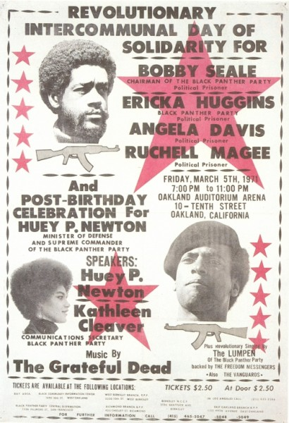 Poster for one of the many times the Dead played benefits for the Panthers.Original Keyboard player Ron (Pigpen) McKernan's life partner Veronica was a leading party member.