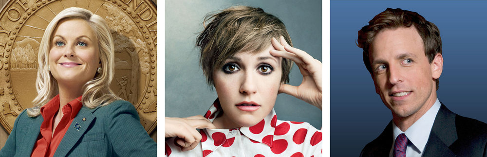"""Leslie Knope,"" Lena Dunham and Seth Meyers"