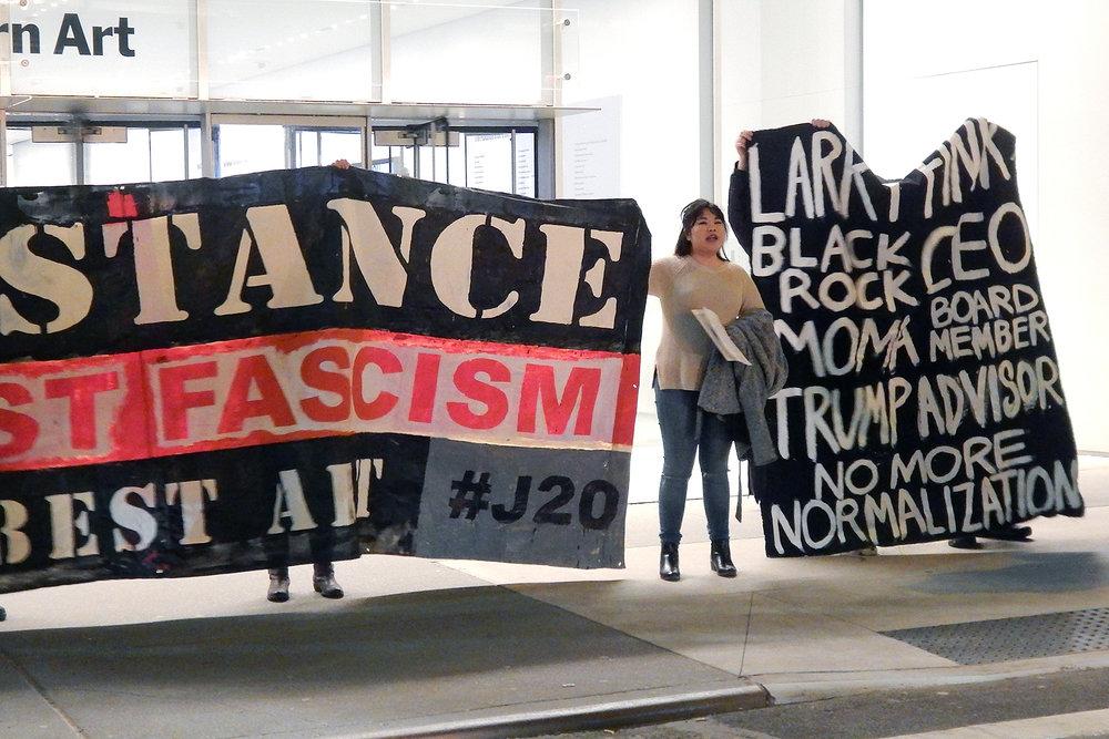 February 17 protest at MoMA (photo: Adam Turl)