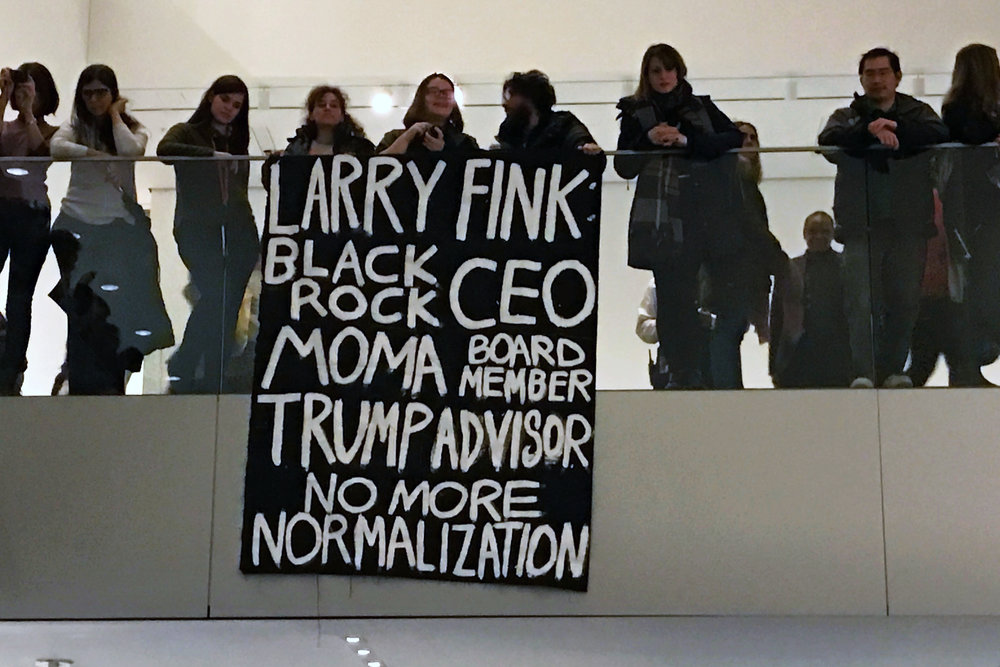 February 17 protest at MoMA (photo: Adam Turl)