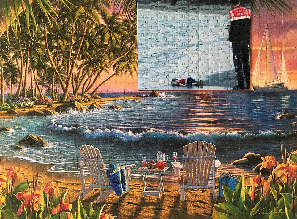 Ocean View (or It Could be Summer Time) , puzzles, manipulated internet photograph (Shirin Rastin, 2017)