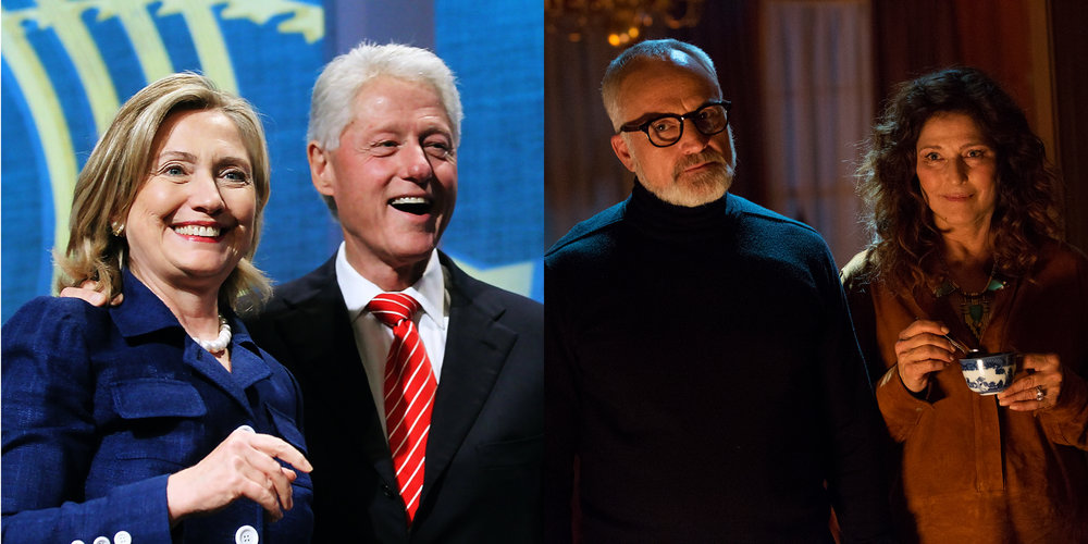 Hillary and Bill Clinton in real life; Bradley Whitford and Catherine Keener (Dean and Missy Armitage) in  Get Out