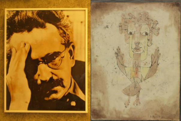 Left: Walter Benjamin. Right: Paul Klee's  Angelus Novus,  inspiration for Benjamin's Angel of History.