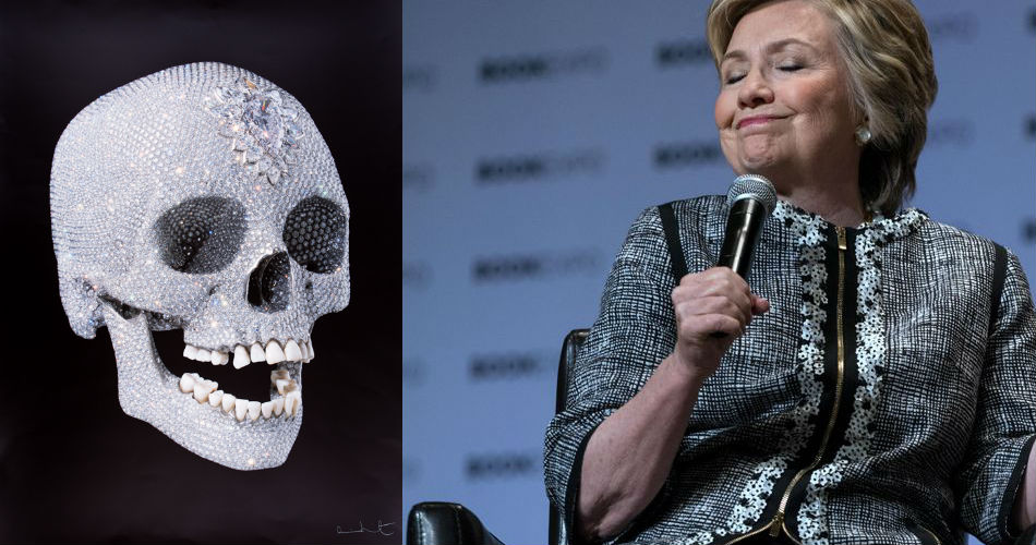 Left: Damien Hirst's bejeweled skull. Right: Hillary Clinton.