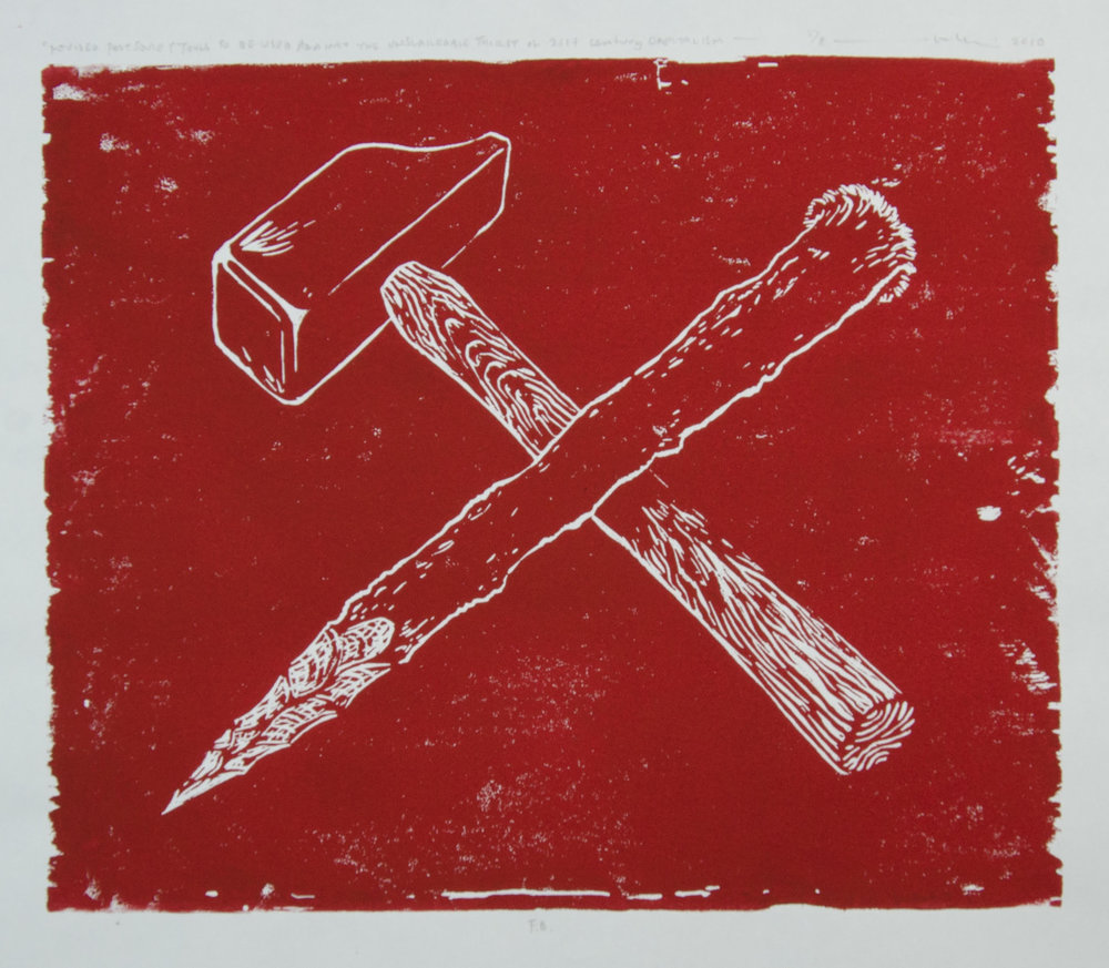 Mel Chin (Houston > Burnsville NC),  Revised Post Soviet Tools to be Used Against the Unslakeable Thirst of 21st Century Capitalism , 2010, Woodblock print, Edition of 8, 12 x 14 1/2 inches