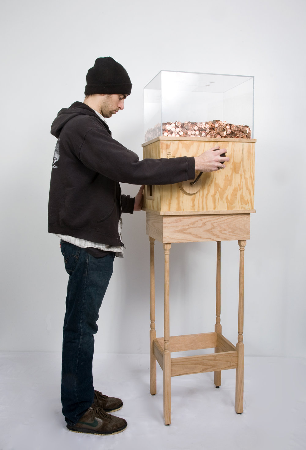 Blake Fall-Conroy (Baltimore > Ithaca),  Minimum Wage Machine , 2008-10, Custom electronics, change sorter, wood, plexiglas, motor, miscellaneous hardware, pennies; approximately 15 x 19 x 72 inches