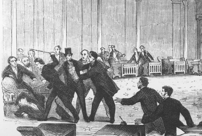 Decorum, for some, means to the right to assault anti-racists. Pro-slavery Representative Preston Brooks canes abolitionist Senator Charles Sumner, 1856.