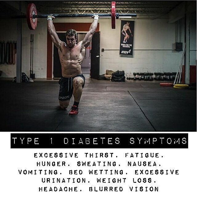 Symptoms for T1D often go unnoticed and can strike anyone (regardless of how many visible abs you). Sharing the symptoms can save lives. #t1d #type1diabetes #crossfit #fitness #defeatt1d