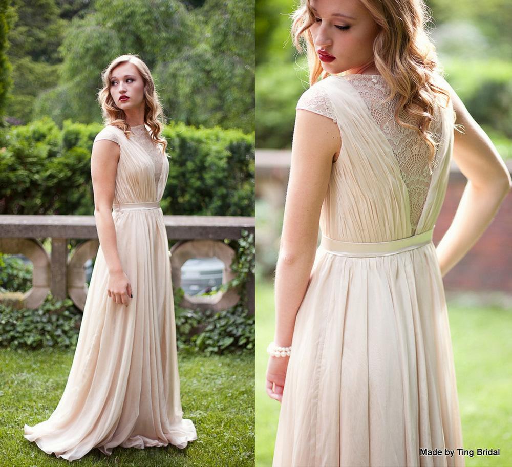 smoked peach gown handmade wedding dresses
