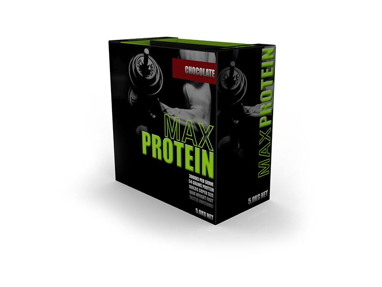 5KG Max Protein Pack Branded Packaging