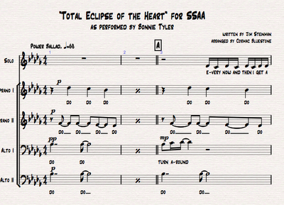 total eclipse of the heart sheet music