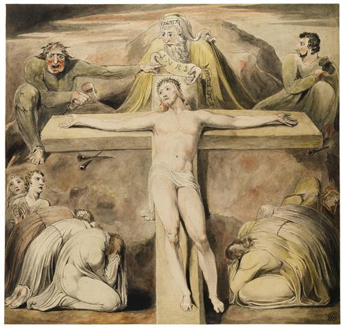 Christ nailed to the cross in the third hour by william blake c.1803