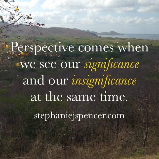 perspective comes when we see our significance and insignificance at the same time.