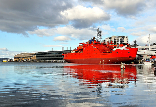 aurora australis icebreaker, in front of the university of tasmania's institute for marine & antarctic studies