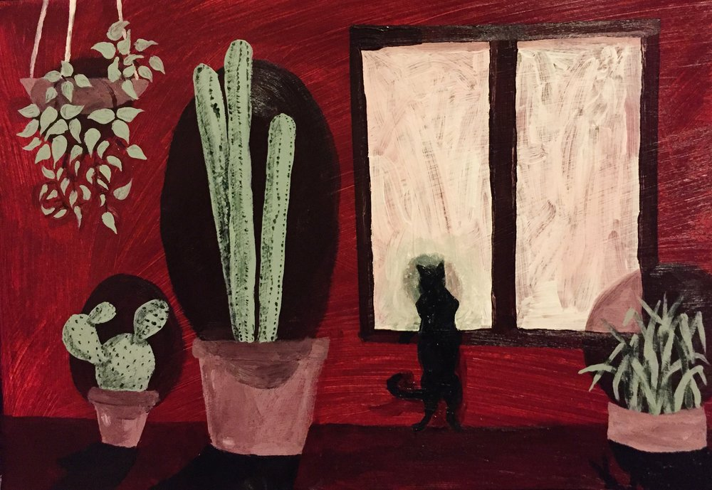 Cacti and cats, acrylic