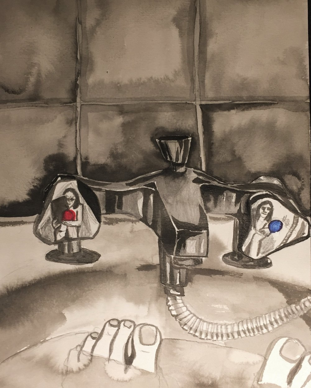 Day 5: Took my sketchbook to the bath to capture this silly double self-portrait in the metal reflection of the faucet.