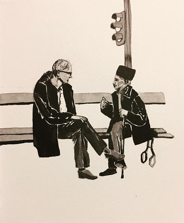At the metro stop by my apartment, every evening a whole bunch of elderly Arab men gather to chat in groups of 2 or 3, taking up all the benches. #inktober #inktober2017