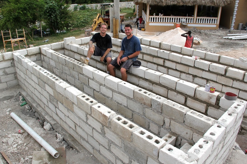Craig and Brendon at their first construction site at an orphanage in Jacmel, Haiti.
