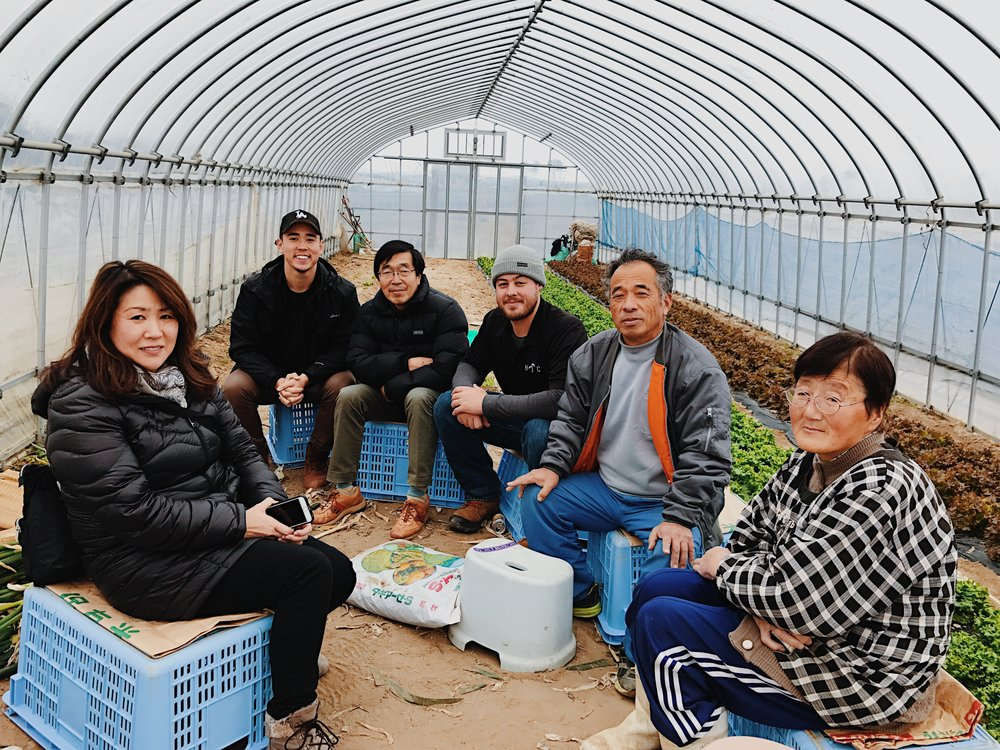 Tsuneo-san introducing us to his farming friends in Sendai.