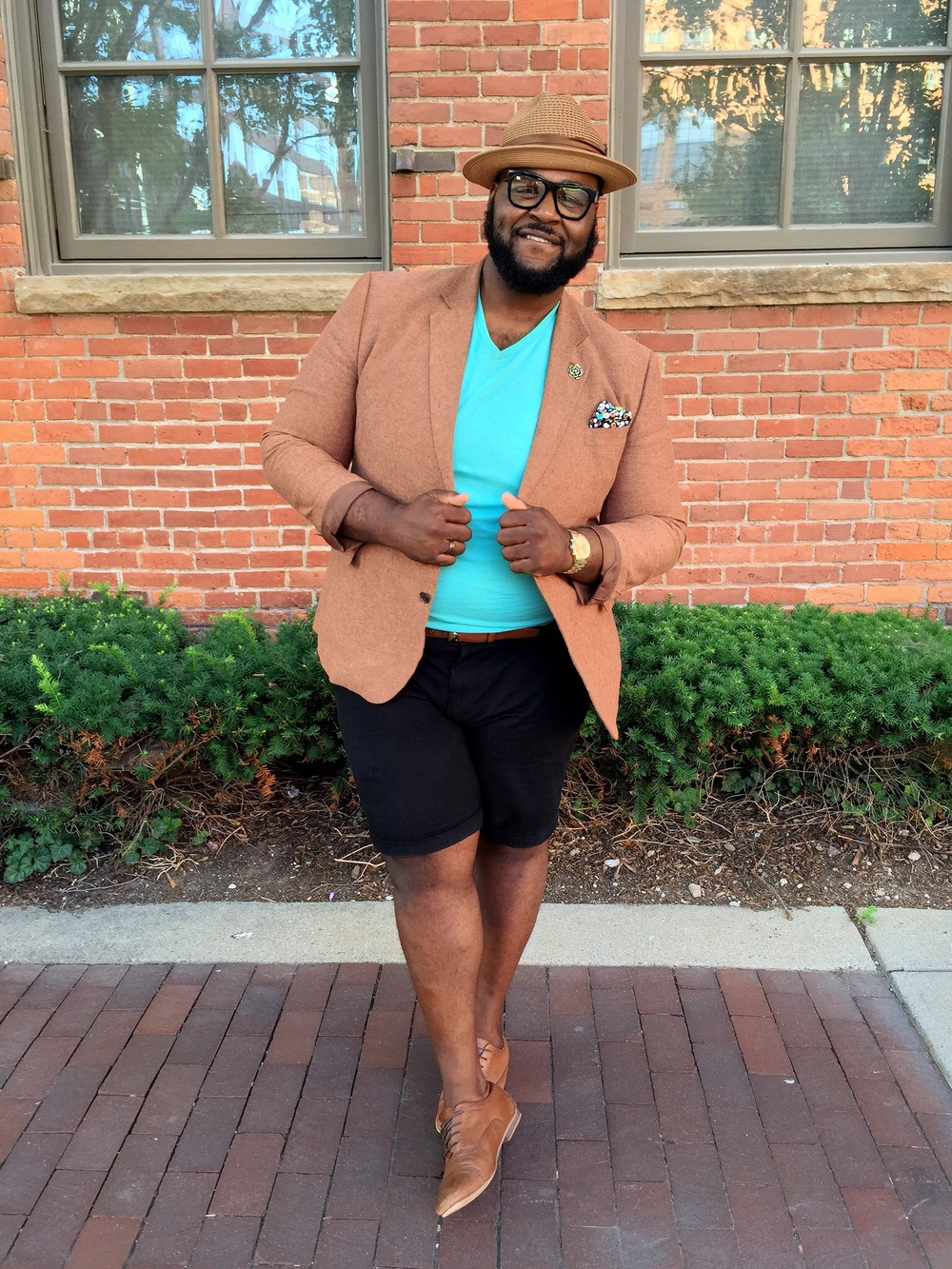 Look Details:  Blazer: JC Penney  Shirt- Old Navy  Shorts: Target      Shoes: Asos  Lapel Pin: Shop @TheBigFashionGuy
