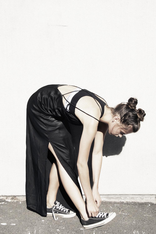 Celeste Tesoriero Delilah slip dress. Calvin Klein crop.Converse shoes.