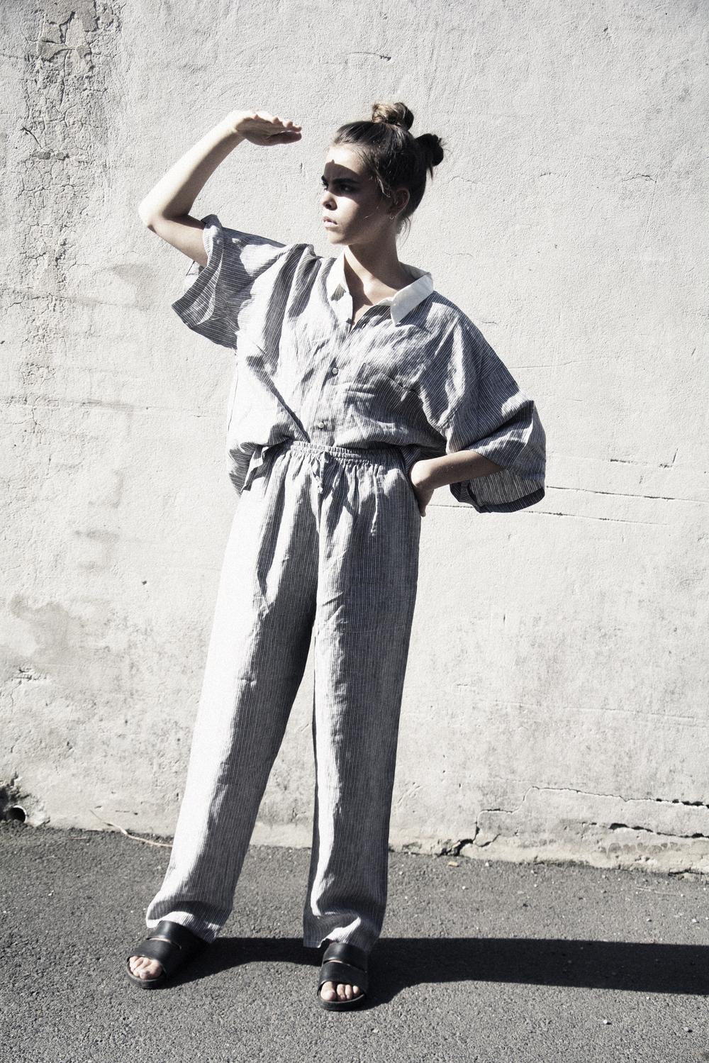 Celeste Tesoriero custom linen pajama set and slides