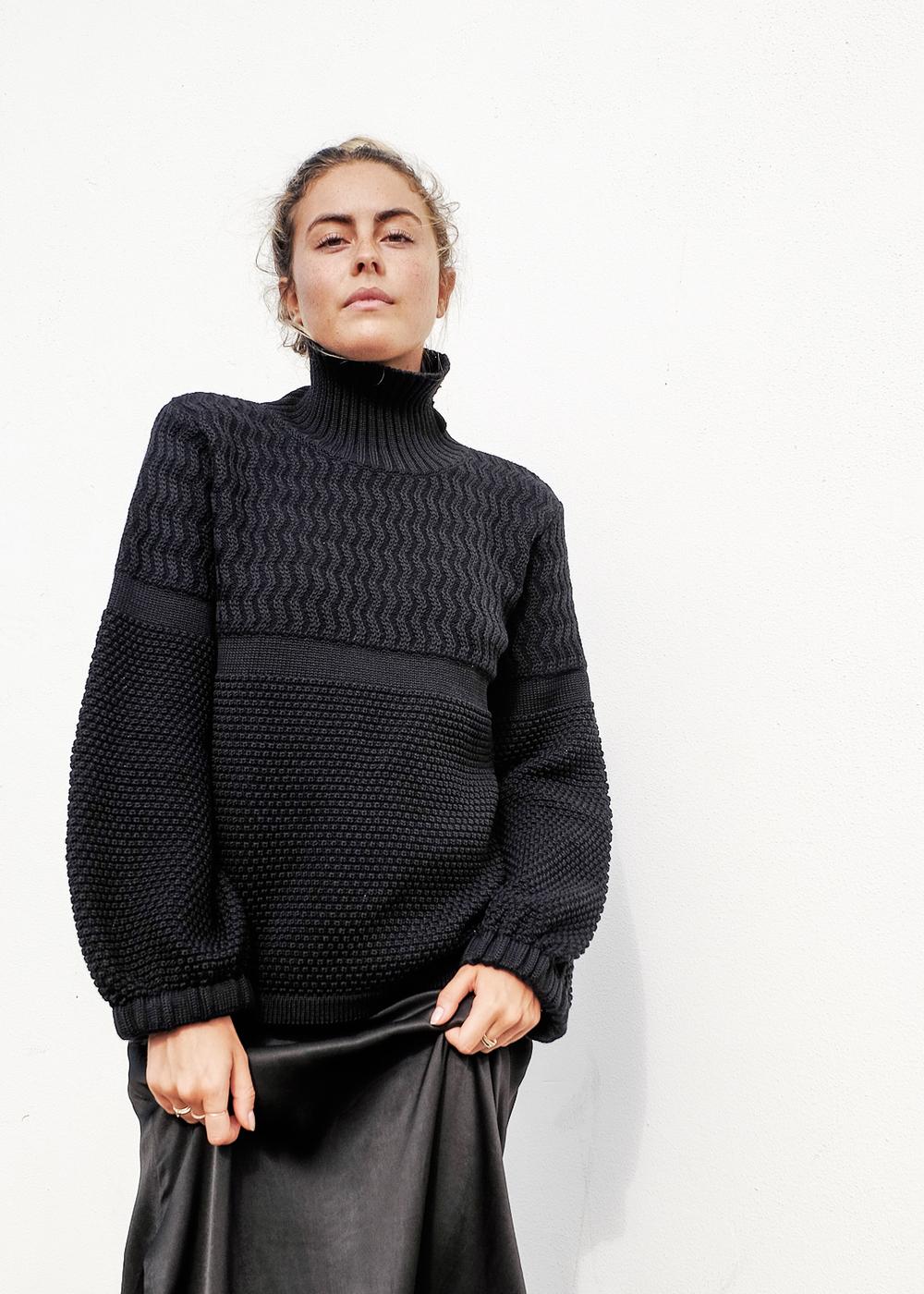 Australian Made, 100% Australian Merino Wool, Woolmark Company certified knitwear. Image: Georgia Storay