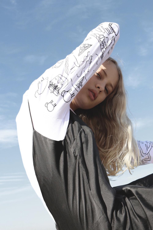 The Django Slip dress in Noir.100% Organic, plant-based vegan dye on silk cotton.