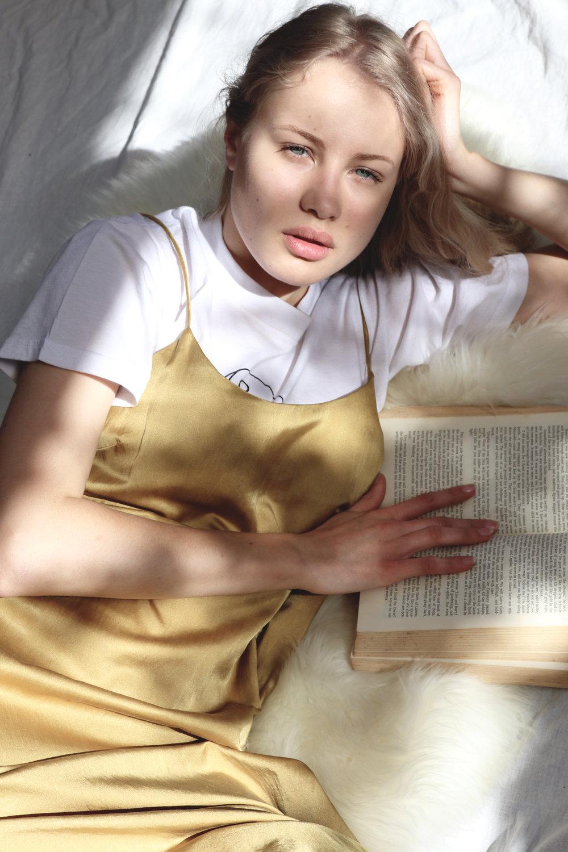 The Cindy Slip Dress in Mustard.100% Organic, plant-based vegan dye on cotton silk.