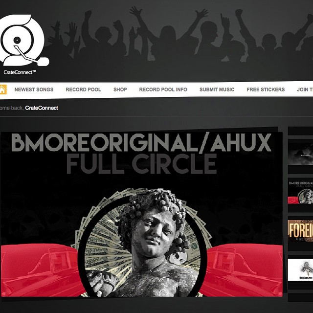 """Shoutout to @crateconnect for showing the new single """"Full Circle"""" front page love !! #BmoreOriginal #ahux #crateconnect #hiphop #epluribusnewman #dopeart #djexcel #bmoreshit #roundtwo"""