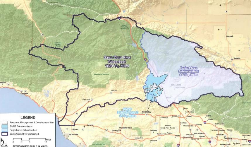 THE SOLID LIGHT BLUE AREA REPRESENTS THE AREA OF THE PROPOSED DEVELOPMENT THAT WOULD RESULT IN A NEW CITY OF OVER 60,000 RESIDENTS ALONG THE SANTA CLARA RIVER.