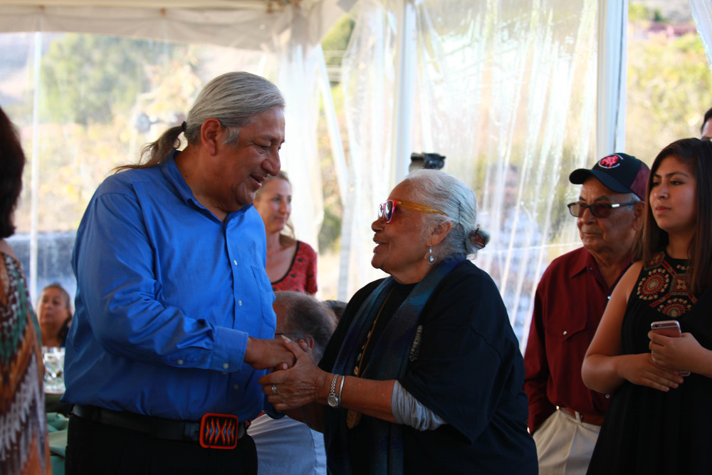 Andrew Masiel greeted by Chumash Elder, Grace Pacheco, of Kawalashaq - Santa Ynez Band of Chumash.