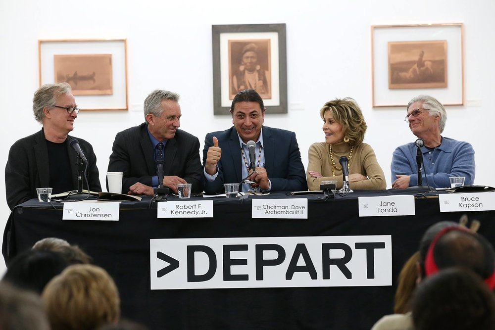 Depart Foundation Panel on Standing Rock: Jon Christensen, Robert Kennedy, Jr., Chairman Dave Archambault, Jane Fonda, and Bruce Capson