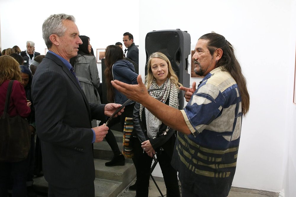 Robert Kennedy, Jr. Founder of the International Waterkepper Alliance, Justin Winters, Executive Director Leonardo DiCaprio Foundation and Mati Waiya, Founder and Executive Director of Wishtoyo Chumash Foudation and Ventura Coastkeeper