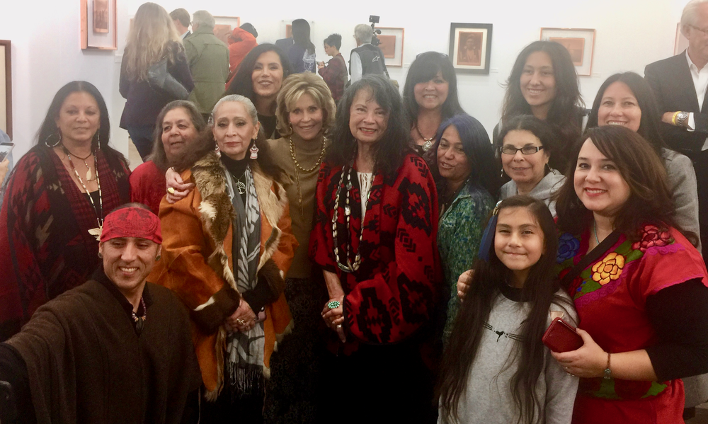 Tongva Elders Julia Bogany and Gloria Arellanes with LaDonna Brave Bull Allard, Jane Fonda, and members from Wishtoyo Chumash Foundation & Anahuacalmec International University